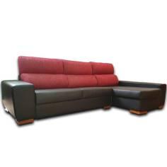 Sofa Chaise Longue Modelo NEVADA 3+1,5 en Polipiel Negra mas tela Fucsia