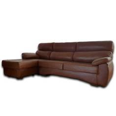 EXPOSICION Chaise longue 1+3 modelo NEVADA con piel natural de Vacuno color marron